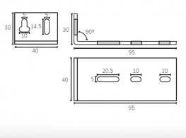 6005 | Adjustable support for sliding door track 95 mm