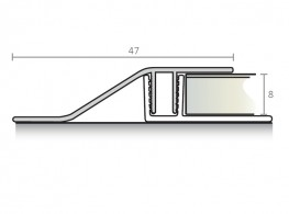 Ramp profile 47 mm - Aluminium series w/ PVC base