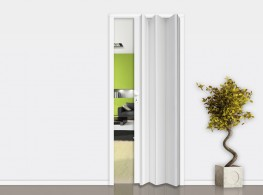 Folding door in PVC with or without glass